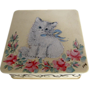 Vintage Kitty Cat & Roses Trinket Box Celluloid Hand Painted