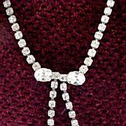 Vintage Rhinestone Love Bow Necklace-Very Elegant