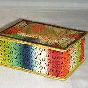 19th C. Wallpaper Trinket Box w/ Velvet Pincushion Theorem