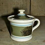 Seaweed or Dendritic Decorated Mocha Ware Mochaware Mustard Pot w/ Lid, c. 1840