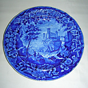 Dark Blue Historical Staffordshire Plate:  Vue d'une Ancienne Abbaye from the French Series