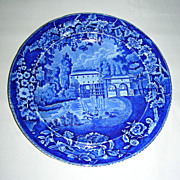 Dark Blue Historical Staffordshire Plate:  Moulin sur la Marne a Charenton from the French Ser