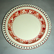 Early 19th C English Creamware Arcaded Plate w/ Rare Red Grape Leaf & Cluster Decoration
