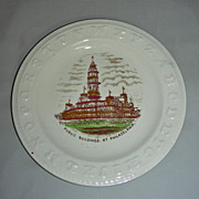 Staffordshire Child's Alphabet (ABC) Plate w/ Philadelphia City Hall (Public Buildings), lat