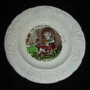 "Staffordshire Child's Plate: ""Now I'm Grandfather"" w/ Polychrome Highlights, c. 1860"