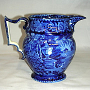 """American Historical Staffordshire 6"""" Jug: Lafayette at Franklin's Tomb, c. 1825"""