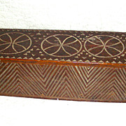 18th Century Chip Carved Frisian Slide Lid Candle Box w/ Compass Decoration, Initials and 1800