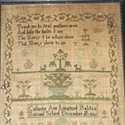 1821 Needlework Sampler by Catharine Ann Langford, National School, Halifax, Nova Scotia Canad