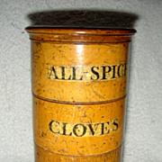 SOLD 4 Compartment Stacking Spice Canister in Original Mustard Paint, Late 19th Century