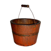 Miniature Wooden Berry Pail in Original Salmon Paint, Late 19th Century