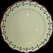 7 1/2 Inch English Creamware Plate w/ Purple Edge & Trailing Vine Border, Marked Wedgwood, c.