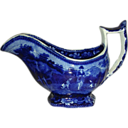 Dark Blue Staffordshire Gravy Boat from the Hunting Series, c. 1825