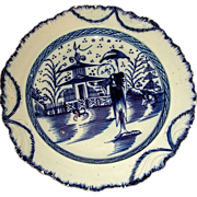 English Pearlware Shell Edge Plate with Underglaze Blue Decoration: Long Eliza & Chinese Pagod