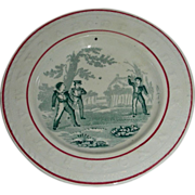 Late 19th Century Child's Staffordshire Alphabet Plate with Boys Playing Ball (Looks like a