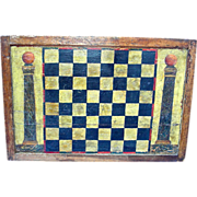 Double Sided Painted American Game Board: Checkers w/ Fraternal Columns and Backgammon, c. 190