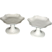 Pair of English Creamware Compotes or Tazzas, c. 1820, Marked Wedgwood