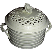 English Creamware Covered Butter Tub w/ Pierced Lid, late 18th Century