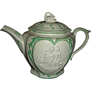 Staffordshire Molded (or Sprig Decorated) Stoneware & Green Enameled Teapot, c. 1790: ...
