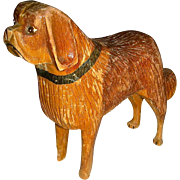 Small Carved Wood St. Bernard Dog with Original Surface