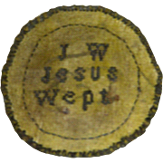 "Early 19th Century Needlework Watch Sampler with Initials ""J. W."" and ""Jesus Wept"""