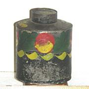 SOLD Decorated Toleware Tea Caddy, Maine Origin, c 1840