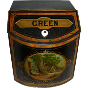 SOLD Large Tin Countertop Green Tea Bin w/ Lithograph Picture, c. 1900