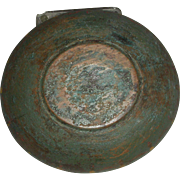 """Small Wooden Bowl (8 ½"""" dia.) in Original Crusty Green Paint w/ Paint Decoration"""