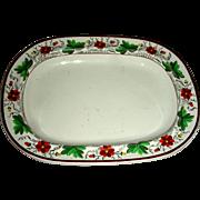 Small English Creamware Tureen or Teapot Tray w/ Floral Border, Marked Spode