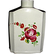 English Pearlware Tea Canister or Caddy w/ King's Rose Decoration, c. 1810