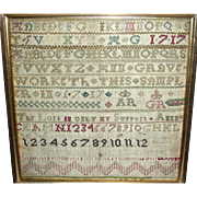 1717 English Needlework Sampler by Ann Grave
