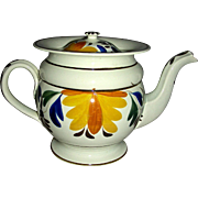 Pratt Decorated English Pearlware Teapot w/ Recessed Lid, c. 1820