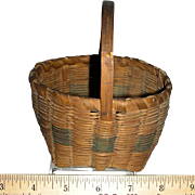 "Miniature Signed Splint Handled Basket, 4"" Diameter"