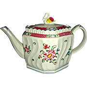 Colorful Staffordshire Pearlware Swirl-Body Teapot w/ Floral Decoration and Swan Finial, c. ..