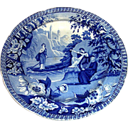 """Blue Staffordshire Dinner Plate: """"Lady of the Lake"""" c. 1830"""