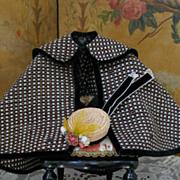 ~~~ Antique Fine Wool Cape and Straw Toque for 1860/65 Era Poupee ~~~