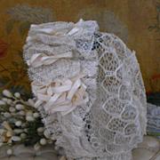 ~~~ Extravagant Lace Bonnet with Crown Bouquet ~~~