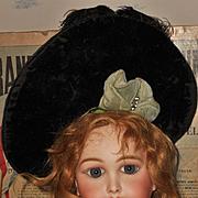 ~~~ Superb Elegant French Silk Velvet Bebe Bonnet ~~~