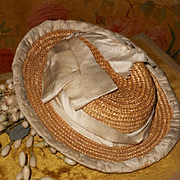 ~~~ Beautiful all Original Straw Bonnet with Silk Decoration ~~~