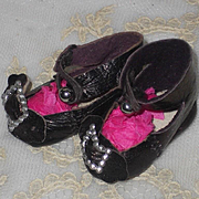 ~~~ Rare Tiny Size 1 Antique Leather Shoes for Size One Bebe ~~~