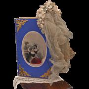 ~~~ Beautiful Antique Poupee Bridal Veil in Presentation Box / 1869 ~~~