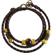 SOLD Wrap Leather Bracelet with Tiger Eye and Golden Beads on Braided Leather Cord