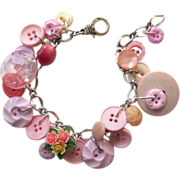 SOLD Charm Bracelet of Vintage Pink Buttons with Flower Buttons in Unique Shapes