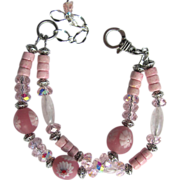 Two Strand Bracelet in Pink with Millefiori Beads – Pink Riverstone – Celestial Crystals â
