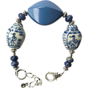 Blue and White Bracelet with Sodalite – Porcelain Beads Painted with Herons – Matching Ear
