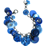 SOLD Vintage Buttons Bracelet in Shades of Blue with Butterfly Button and Rhinestone Accents