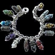 Gargoyle Charm Bracelet with Gemstones and Colorful Gargoyles and Matching Earrings