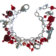 SALE Vampire Charm Bracelet with Vampire Teeth – Swarovski Crystals - Bite Me Charm – Hear