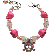 Bracelet of Pink Skulls with Celestial Crystal Beads and Swarovski Accents