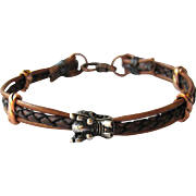 Men's Leather Bracelet with Dragon and Contrasting Copper Accents in ML to L
