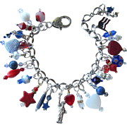 Red, White and Blue Charm Bracelet with Statue of Liberty – Stars – Hearts †...